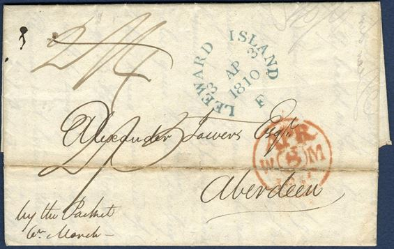 "Entire dated St. Croix 5 March 1810 to Aberdeen, Scotland and Edinburgh datestamp in red ""APR / W / 8 / M / 1810"". Packet rate West Indies to Falmouth 1/1d, Falmouth to Aberdeen inland rate 600-700 miles 1/4d, total 2/5 charged by addressee. Only one of two blue impression of this postmark known, and this is the finest of the two. This being a single letter, the other a double rate letter, both sent at exactly the same date."