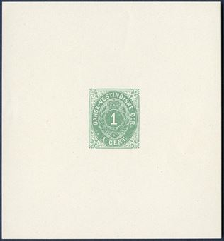 1 CENT bicolored issue (1900), frame main group 5, green, imperforate color proof with large margins, without gum and watermark. This proof may very well have been made in preparation for the 1¢ green Coat of Arms issued early 1900. Only two recorded.