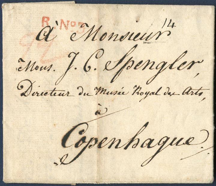 "Entire dated Paris 1 January 1809 to Copenhagen via Hamburg. Opened and censored in Hamburg according to circular 12 DEC 1807, re-sealed with red wax seal ""Königlich Dänisches Post Amt zur Hamburg / FR VI"". Hamburg mark 9 JAN 1809, list no. 258-36"". A rare example of early Danish censorship."