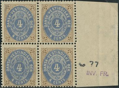 4 Cents bicolored I printing, mint never hinged block of 4 with right sheet margin.