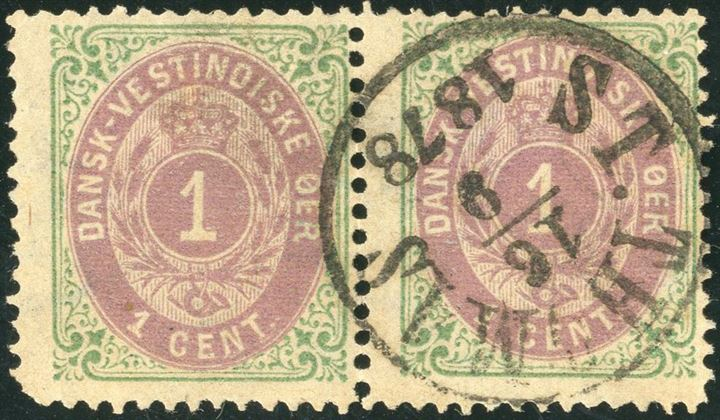 1 Cent bicolored I printing, position 17-18 in the sheet, used pair cancelled ST. THOMAS 16.9.1877. Right stamp pos. 18 with INVERTED FRAME, in this condition and in pair a most desirable bicolored rarity of DWI stamps, left stamp with round SW-corner.
