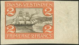 2 Francs St. Thomas Harbour, hinged, imperforate. Extremely rare.
