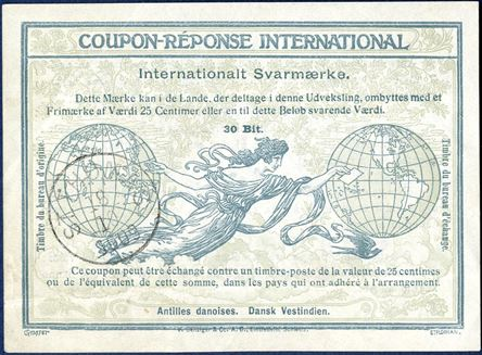 """Dansk Vestindien"" 30 BIT Coupon-Réponse International issued St. Thomas 18.10.1909. Type II, Rome Issue. Only six recorded, horizontal fold below."