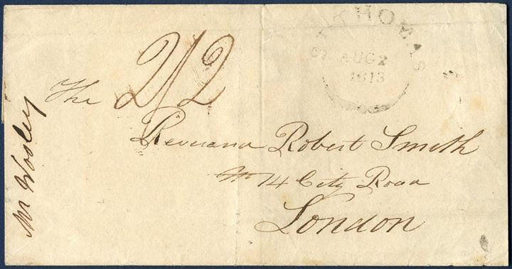 "Letter sheet stamped ""ST THOMAS / Aug 2 / 1813"" British fleuron mark, sent to London and backstamped circled ""D / 9 SE 9 / 13"". Charged 2/2. Single packet letter rate 1/2 (1813-37), to London 1/ (Falmouth-London 1812-39, 200-300 miles), total rate charged 2/2."