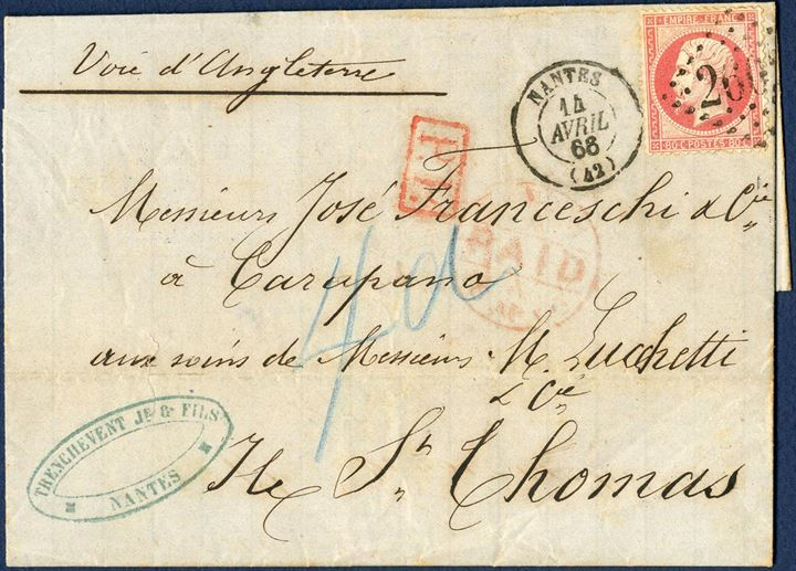 Letter from Nantes to St. Thomas 14 April 1866 to Carupano, care of St. Thomas agent. Routing instruction Voie d'Angleterre, stamped P.P. and London transit AP16, with receiving mark closed ring ST. THOMAS A MY2 66 on reverse. Charged 4d due, the letter has been forwarded to Carupano, Venezuela. From Southampton RMSPC SEINE arriving 1 May at St. Thomas. A most unusual mixed franking with French and British postage.