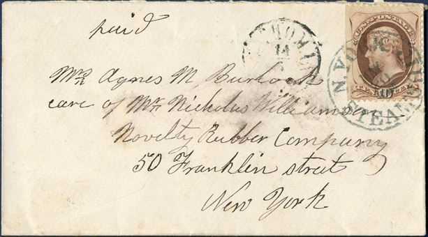 Envelope from St. Thomas 1870-80 to New York, USA. US 10¢ brown Jefferson cancelled with N.YORK / STEAMSHIP MAY 20 and ST. THOMAS 14/5 ANT2 narrow O.