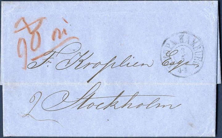 Unpaid letter from London 1 May 1861 to Stockholm. Privately carried to Hamburg, from there posted at the Danish post office and struck - K.D.O.P.A. HAMBURG 4-5 3/5 – Charged in Sweden 90 öre in red crayon due du by addressee.