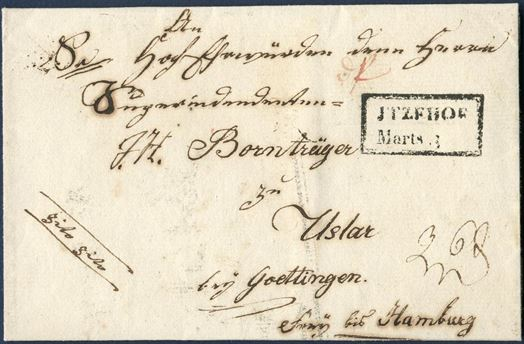 Letter sheet from Itzehoe 3 March 1822 to Uslar near Göttingen, Germany. Boxed – ITZEHOE Marts 3 – struck on front. Instruction to the post: cito cito, for express service.