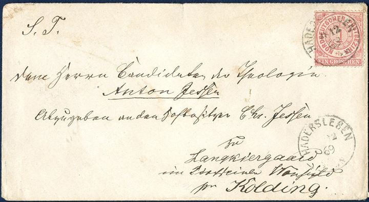 Border rate letter sent from Hadersleben to Langekiergaard, Vonsild south of Kolding, 28 December 1869, bearing a single NDP 1Gr. perforated tied by PER Io (DAKA 58.12). RARE.