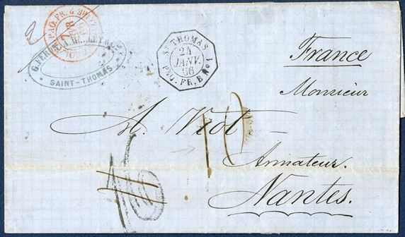 "Unpaid letter sent from St. Thomas to Nantes 24 January 1866 by French line B via St. Nazaire. Stamped French Octagonal ""ST. THOMAS - PAQ. FR. B No. 1"" and two-ring ""COL. FR. PAQ. Fr. - 2 ST. NAZAIRE 2"" in red. Erroneously stamped manuscript due mark ""16"" decimes and corrected to 10 decimes. In January 1866 the weight and rate changed from 7,5 grms to 10 grams per letter, and increased from 80 centimes to 100 centimes (10 decimes). Interesting letter."