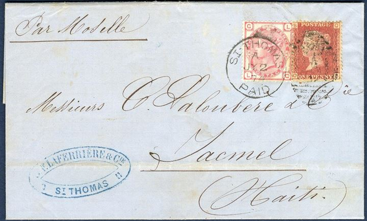 Entire letter sent from St. Thomas to Jacmel Haiti 2 July 1874 through the British Post office, bearing a 3d and 1d tied by Duplex C51 St. Thomas A and by steamer endorsed Par Moselle