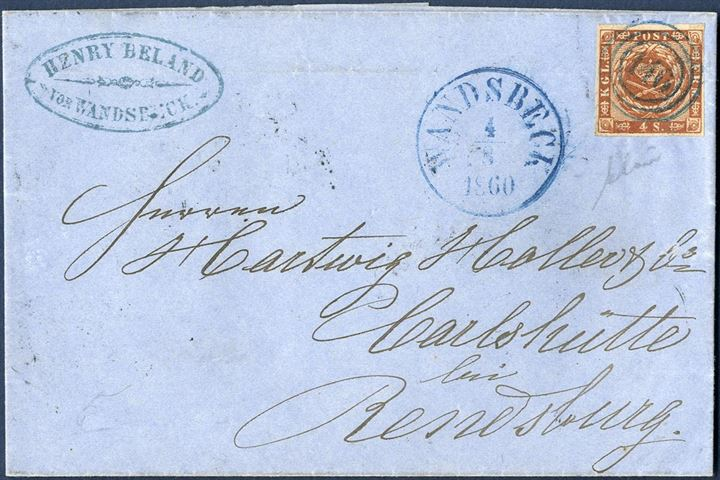 "Letter sheet sent from Wandsbeck to Carlshütte near Rendsburg 4 August 1860 bearing a 4 sk. 1858 wavy-line issue tied by numeral ""146"" in blue ink as well as CDS ""Wandsbeck 4/8 1860"" also in blue. Very scarce on letter and in excellent quality of the postmarks."