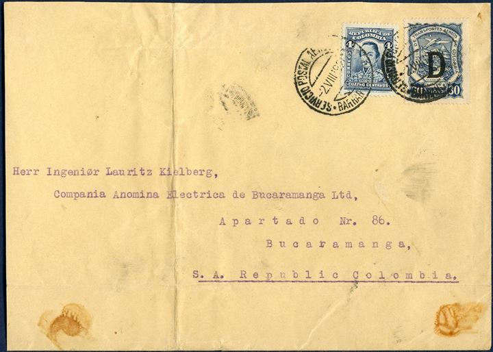 "SCADTA letter sent from Copenhagen to Bucaramanga in Columbia 2 August 1927, bearing 30c SCADTA Denmark overprint ""D"" and a single 4 Centavos on large letter that has been cut down at left. Unusual single mixed franking."