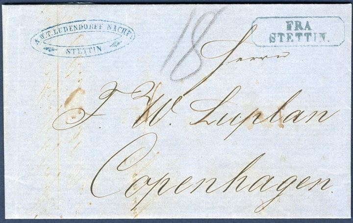 "Unpaid letter sent from Stettin to Copenhagen 16 August 1855. Octogonal ""FRA STETTIN"" in blue colour, scarce in this colour. The postmark was used on board the mail steamer on letters found in the mail box. Conventional 18 sk. postage as per postal agreement per 1 February 1854, noted with pencel ""18"" sk. and due by recipient."