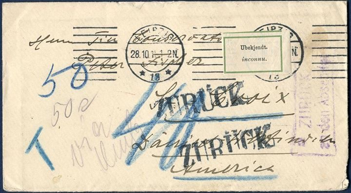"Unpaid letter Leipzig 28 October 1911 to St. Croix, DWI. Charged in blue crayon ""40"" centimes and ""T 50"", due 50 BIT by addressee and a 50 BIT EFTERPORTO (AFA 8) adhesive affixed on reverse and tied by ""CHRISTIANSTED 28/11 1911"" CDS via ""ST. THOMAS 26/11 1911"". The addresse unknown and a DWI retour etiquettes ""Ubekjendt. / inconnu."" affixed and returned via ""ST. THOMAS 2/2 1912"" struck on reverse. Etiquetttes are extremely rare on DWI mail. German ""ZURÜCK"" struck twice on front and boxed ""ZURÜCK / an den Absender. Extremely rare and just recently discovered, one of two known with 50 BIT tied by postmark and the finest of the two known."