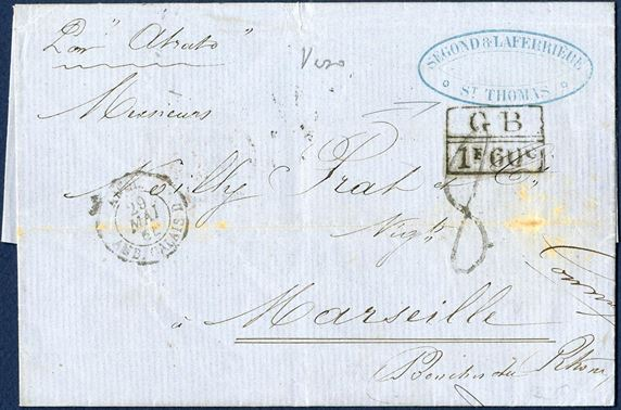 "Unpaid letter docketed St. Thomas 13 May 1863 to Marseille via London. Sender's cachet ""SEGOND & LAFERRIÈRE / ST. THOMAS"" struck on front, routing order – Par ""Atrato"" RMSPC ""Atrato"" to London. On reverse British double ring small type ""ST. THOMAS MY14 1864"", 1-ring ""J M / LONDON / MY-28 / 64"", ""PARIS / 29MAI 64 / 60"", ""3 MARSEILLE 3 / 30 MAI 64 / (12)"" and on front ""ANGL. / 29 MAI 64 / AMB. CALAIS D"" and struck accountancy mark ""GB // 1F60C"" and numeral type ""8"" decimes due by addressee."