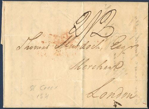 "Docketed ""Governmenthouise, St. Croix 6 September 1831"" to London, England. Struck boxed ""PACKET LETTER"" in red on reverse and London 1-ring ""C / 8 OC 8 / 1831"" red, charged 2/2 to London by addressee for a single rate letter."