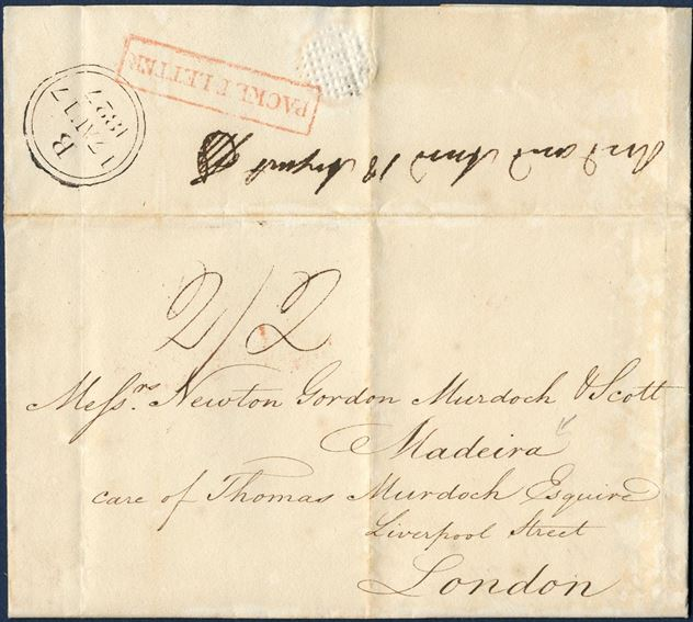 "Docketed ""St. Peter, St. Croix 2 July 1827"" to Madeira care of Thomas Murdoch Esq, London. Struck boxed ""PACKET LETTER"" in red, London 2-ring ""B / 17 AU 17 / 1827"" black, charged 2/2 to London by addressee for a single rate letter."