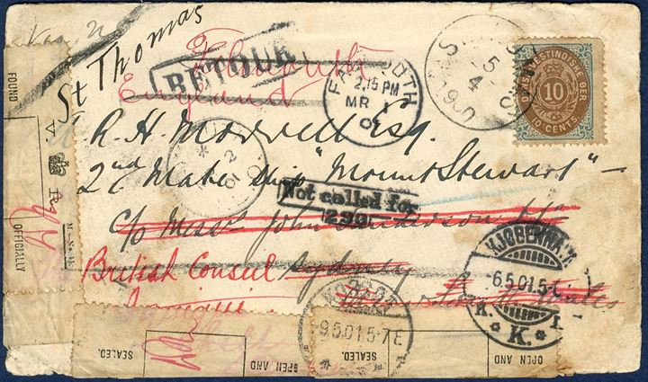 "Letter St. Thomas 5 April 1900 to Sydney, Australia. Sent to a 2nd mate at ship ""Mount Stewart"". As ship must have left, the letter has been forwarded around the world with lots of postmarks on reverse. Officially opened and returned via Denmark back to St. Thomas where it arrived back on 27 May 1901, travelling more than a year around the world for only 10¢. Extremely rare finding such a cover from Danish West Indies, stamp however with faults but having traveled for a year this is unavoidable."
