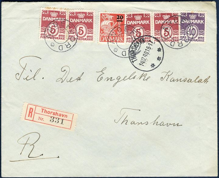 "Registered letter sent to the British Consulate at Thorshavn with ""Radio-Hilsen"" 14. December 1940 from Andefjord. This year only, BBC had agreed to broadcast Christmas Greetings to relatives in Denmark. The fee was 5 Kr. - and should be sent to the British Consulate and this letter contained a note of 5 Kr. Letter rate 20 øre plus 30 øre registration fee."