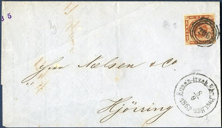 "Domestic letter sent from Itzehoe to Hjørring bearing a 4 sk. 1863 rouletted issue tied by numeral ""206"" alongside railroad mark ""Elmsh-Itzeh.Ebn.Post.Bur: 8/9 1863""."