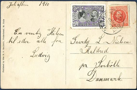 "Postcard from St. Thomas 28 December 1910 to Svebølle, Denmark. 10 BIT King Frederik and Christmas Seal 1910 tied by ""ST. THOMAS 28/12 1910"" paying the 10 BIT UPU postcard rate."