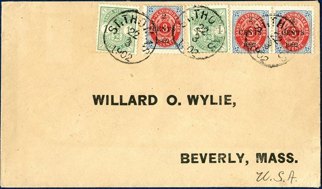 "Envelope from St. Thomas 22. March 1902 to Beverly, USA bearing two 1¢ Coat-of-Arms and three local overprint provisional ""2 CENTS 1902/3¢"" 1902 bicolored issue tied by CDS ""ST: THOMAS 22/3 1902"". Colorfull combination."