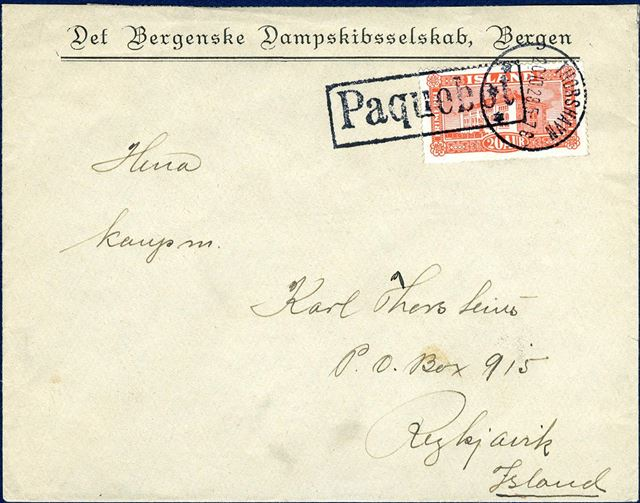"Envelope from Thorshavn 20 October 1928 to Reykjavik, Iceland bearing 20 aur red National Library tied by ""THORSHAVN 20.10.28 5-7 E"" CDS and boxed ""PAQUEBOT"" likely applied i Reykjavik on ship's arrival."