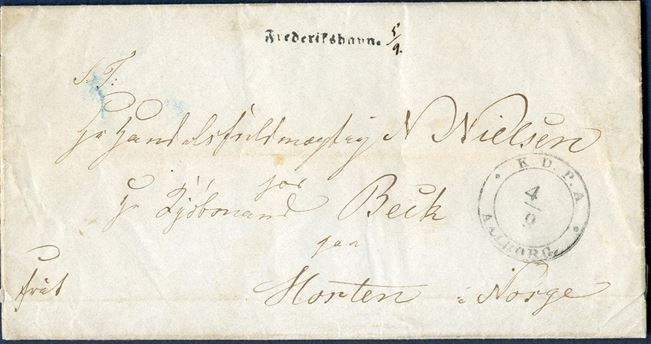 Franco letter sheet dated Aalborg 4 September 1852 via Frederikshavn to Horten, Norway. Postmark – K.D.P.A. AALBORG. 4/9 – struck on front, and then from Frederikshavn directly to Norway. Straight line mark – Frederikshavn. – 28mm applied, extremely scarce postmark.