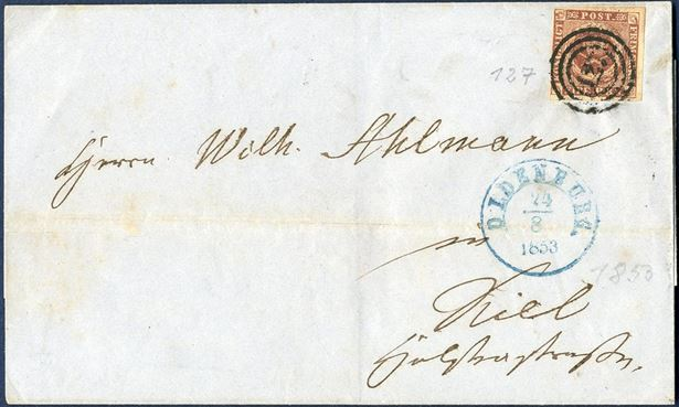 "Domestic letter sent from Oldenburg to Kiel 24 August 1853 bearing a 4 RBS Thiele I plate I tied by numeral ""127"" alongside 1 1/2 -ring ""OLDENBURG 24/8 1853"" CDS in blue ink."