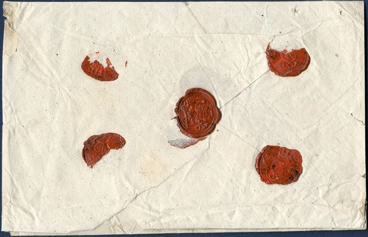 Money Letter from lottery agent Ulrikke Augusta Schytt in Ribe sent to lottery agent Bie 1801-1808, Copenhagen. Contained - NB Heruid 141 Rd: 181ßD: - closed with four red wax seals – RIBE C7 – and collectors own wax seal. Without postal notations.