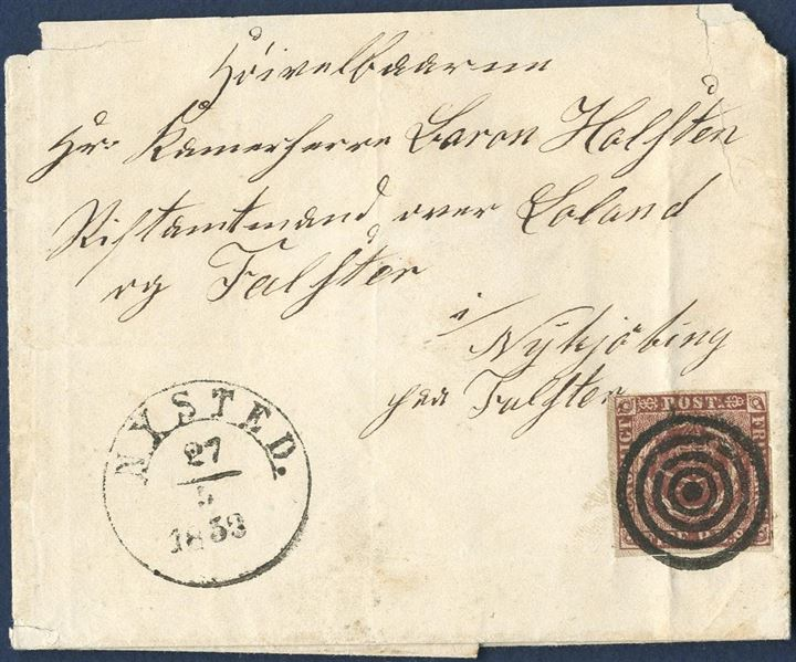 Letter from Nysted 27 May 1853 to Nykjøbing paa Falster. Postage paid with 4 RBS Thiele I, plate I-32, tied by mute cancel and datestamped ANTIIb – NYSTED 27/5 1853 -. Due to the nature of the addressees text on the envelope, the stamp affixed contrary to regulations away from top right corner. Against postal instructions, a penalty of 6 RBS was not charged. A most unusual latter.