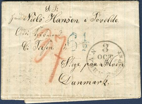 "Letter sent from Panama to Stege in March 1864, stamped in NY with ""N.YORK-HAMB. PKT 3 / OCT 5"" convention mark ""6 1/2"" Sgr. mark in green, red crayon ""37"" sk. due by the addressee in Denmark, of which the 28 sk. is foreign share and 9 sk. to the Danish post. The 37 sk. rate was for mail from USA via Hamburg and Bremen."