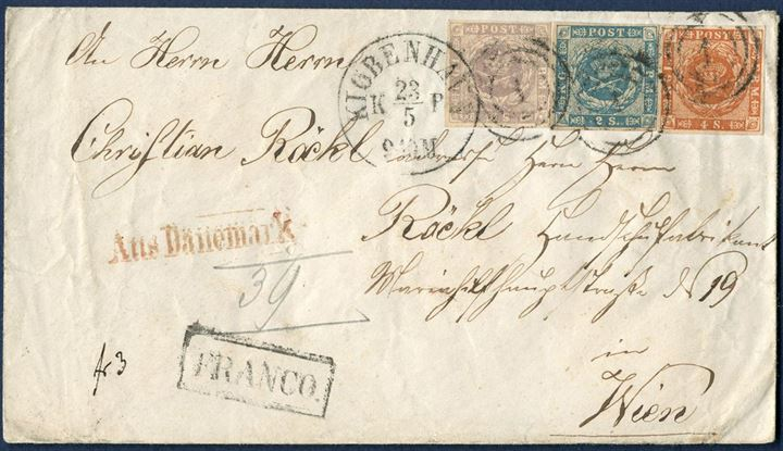 Envelope from Copenhagen 23 May 1858-65 to Vienna, Austria. Prepaid with 16 sk. 1857, 2 sk. 1855 dotted spandrels and 4 sk. 1858 wavy-line issue, all full margined stamps tied by numeral 1 and datestamp - KIØBENHAVN KB 24/5 9-10M – and boxed FRANCO and red – Aus Dänemark – struck on front. From Danish rayon 2 – 9 sk. – to Germany-Austrian postal union rayon 3 – 13 sk., total 22 sk. postage. Letter's sent to Vienna, Austria are far scarcer than other 22 sk. rates to Germany.
