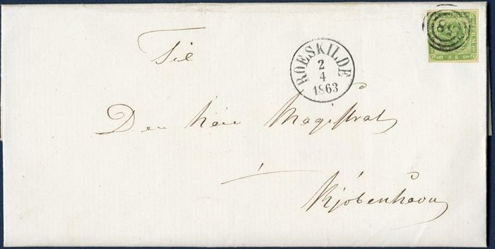 Double weight letter sent from Roeskilde 2 April 1863 to Copenhagen. Postage 8 sk. 1-2 lod, paid with 8 sk. 1857 dotted spandrels tied with numeral 58 and datestamp ANTIII ROESKILDE 2/4 1863. A most fresh and well preserved letter.