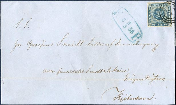 Copenhagen foot post letter to Kongens Nytorv 8 March 1858. Postage 2 sk. Copenhagen rate franked with 2 sk. 1855 dotted spandrels, plate I-99 large plate-flaw with SE-posthorn and cliché damage below SE-Mercury wand. Fine full-margined stamped tied with numeral 1 and datestamp - FP 3 8/3 58 -.