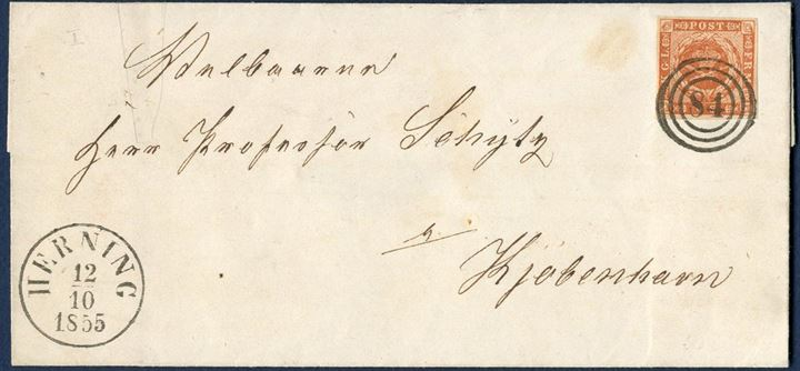 Letter from Herning 12 October 1855 to Copenhagen. Postage 4 sk. rate franked with 4 sk. 1854 I. printing dotted spandrels. Numeral 84 and datestamp HERNING 12.10.1855. Superb condition.