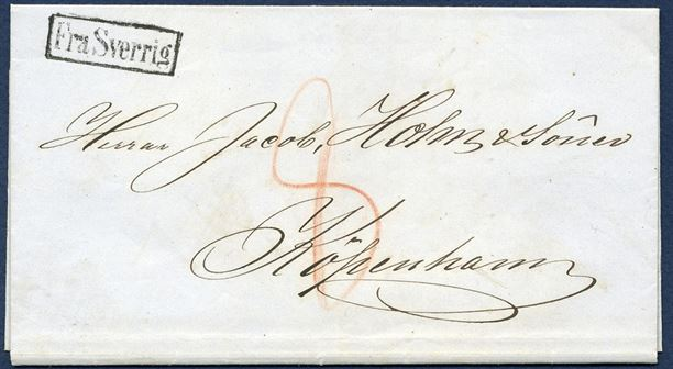 "Letter from Helsingborg to Copenhagen via Helsingør 20 April 1866. On arrival in Helsingør the letter was stamped with the scarce boxed mark ""Fra Sverrig"" and Helsingør CDS on reverse 21.4.1866 and Copenhagen CDS same day. The postmark was ordered by the Helsingør Postoffice 3 June 1865 and apparently in use from 1 August 1865. Also the rate of 8 sk. charged was the special Øresund border rate."