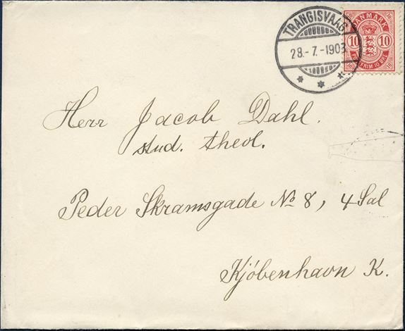 Envelope sent from Trangisvaag 28 July 1903 to Copenhagen, Denmark. A 10 øre Coat of Arms issue perforation 12¾ tied by a superb impression of the swiss-type cancel TRANGISVAAG 28.-7.-1903 DAKA 02.04 and is paying for the domestic rate of 10 øre, envelope cut down at left, but otherwise fine.