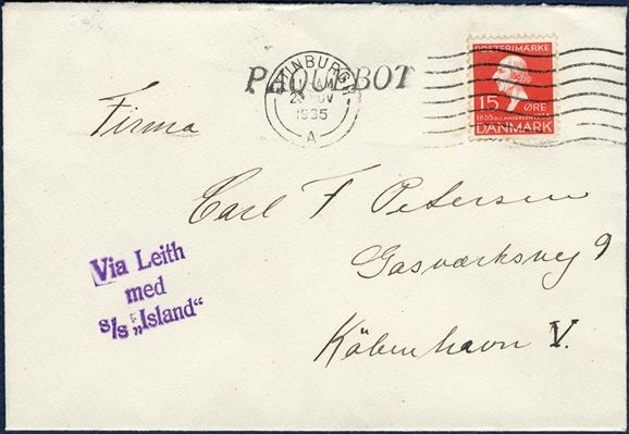 Envelope from Faroe Islands November 1935 via Edinburgh to Copenhagen, Denmark and bearing a 15 øre red Hans Christian Andernsen adhesive, tied by EDINBURGH 23 NOV 1935 machine cancel and 1-line mark PAQUEBOT italic type, alongside 3-line ship mark - Via Leith / med / S/S Island, a scarce ship mark in very fine condition.