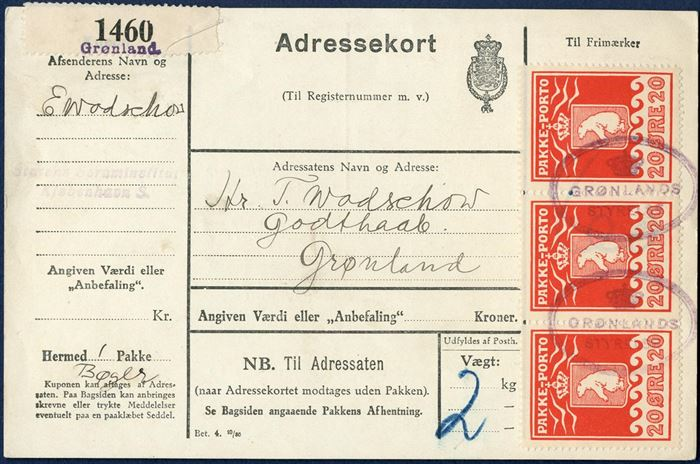 Danish parcel card to Mr. T. Wodschouw, Godthaab with three 20 øre (AFA 9) tied by oval GRØNLANDS STYRELSE. Danish ADRESSEKORT type Bet. 4. 10/80, for a parcel of books weighing 2 kg. and label CI 1460 / Grønland, sent with DISCO on 22 May 1933 from Copenhagen to Greenland.