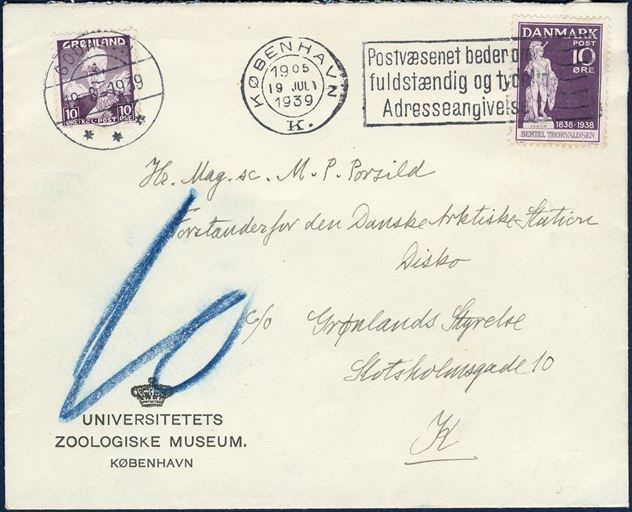 "Under franked LOCAL letter with 10 øre wavy-line sent from Copenhagen to Julianehaab 18 March 1940. Endorsed ""10"" blue crayon and paid in Julianehaab with a 10 øre King Chr. X stamp tied by Julianehaab CDS April 1940. The letter was sent by one of the last ships to Greenland before Denmark was occupied. Rate to Greenland 15 øre, double the missing postage of 5 øre is 10 øre due by the addressee. First issue Greenland rarely used as postage due stamps."