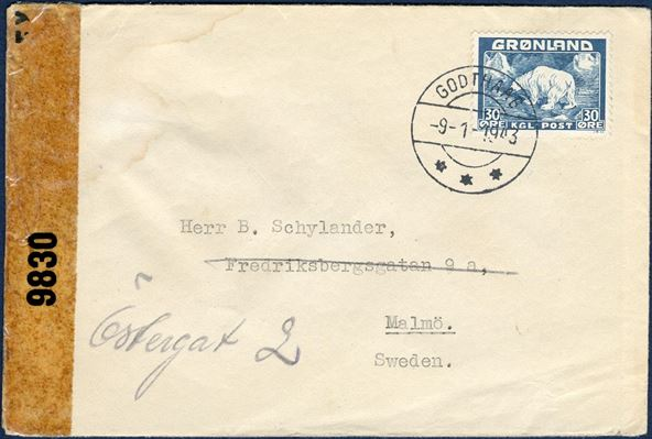 Letter from Godthaab -9-1-1943 to Malmö, Sweden. 30 øre Polar Bear tied by GODTHAAB 9-1-1943 and opened by US censorship, and transparent resealing tape EXAMINED BY CENSOR 9830, no other censor marks. 30 øre postage  to foreign destinations remained the rate during WWII, although the rate actually were increased to 40 øre, but only few were aware of the rate hike.