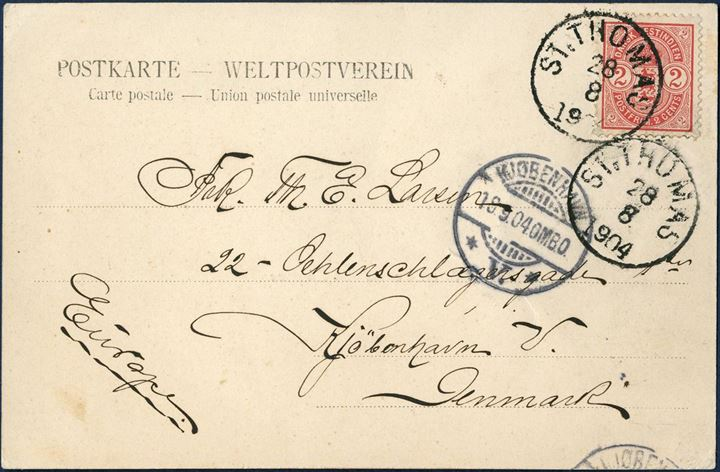 Postcard from St. Thomas 28 August 1904 to Copenhagen, Denmark. 2¢ Coat-of-Arms red tied by ST: THOMAS 28/8 1904 LAP2 and KJØBENHAVN V. 18.9.04.OMB.O receiving mark on front. 2¢ UPU postcard rate from 1.1.1902 – 14.7.1905.