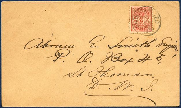 Domestic letter sent from Christiansted 2 November 1903 to St. Thomas. 2¢ red Coat-of-Arms tied by CHRISTIANSTED 2/11 1903 LAP3, ST. THOMAS 3/11 1903 receiving mark on reverse. 2¢ domestic letter rate from 1.1.1902 – 14.6.1905.