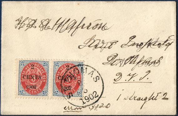 Local letter within St. Thomas 8 March 1902. Pair 2 CENTS 1902 provisional local overprint on 3¢ bicolored IX printing inverted frame, tied by ST: THOMAS 8/3 1902. Stamp at right with overprint error FLAT FOOT ON 2 in 1902. Local rate 2¢, overfranked and by the post only one stamp were cancelled, leaving the left stamp to be re-used for postage. 2¢ domestic letter rate from 1.1.1902 – 14.6.1905. Addressee erased with ink.