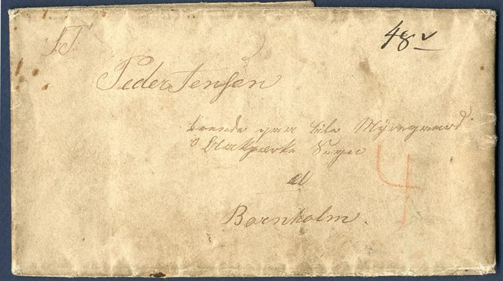 Letter sent from Buenos Aires to Bornholm November 1846 via Hamburg. Hamburg Schiffspost transit mark on reverse. List number 1-13/35, total charge of 48 sk. and 4 sk. rural carrier fee, all together 52 sk. due by the addressee. Extremely scarce and early letter from overseas to Bornholm.