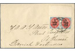 Local double rate letter within St. Thomas 3/7 1902. Pair 2 CENTS 1902 provisional COPENHAGEN overprint on 3¢ bicolored IX printing inverted frame, tied by ST: THOMAS 3/7 1902. 4¢ correct double 2¢ domestic letter rate from 1.1.1902 – 14.6.1905. EARLIEST REPORTED USE of the Copenhagen provisional. From the St. Thomas post office inventory the first 25 sheets were sold on 2 July 1902 and likely a FIRST DAY USE and 4 days earlier that the previously earliest reported use.