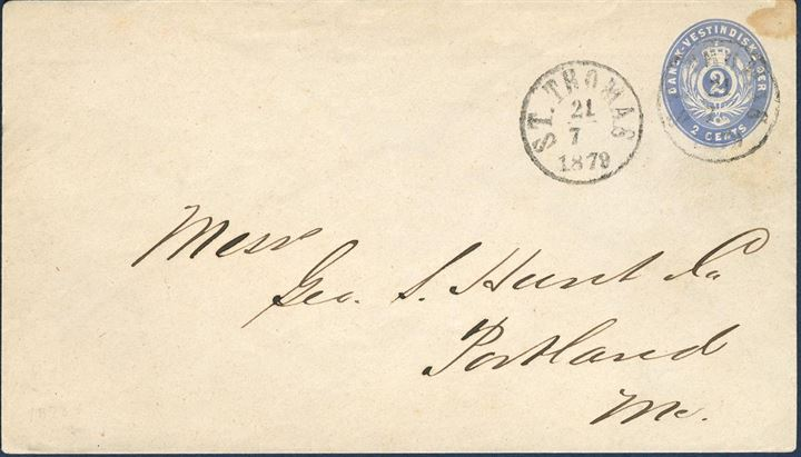 2¢ ultramarine shade stationery envelope sent from St. Thomas 21 July 1879 to Portland, USA. With watermark IA, thin paper and ungummed flap. Carried onbard Brazil Lin'es COLORADO, first of three charters replacing regular sailings of USBMSC CITY ships. Small stain at top right outside the imprint. Eight 2¢ ultramarine stationery envelopes in used condition are recorded.