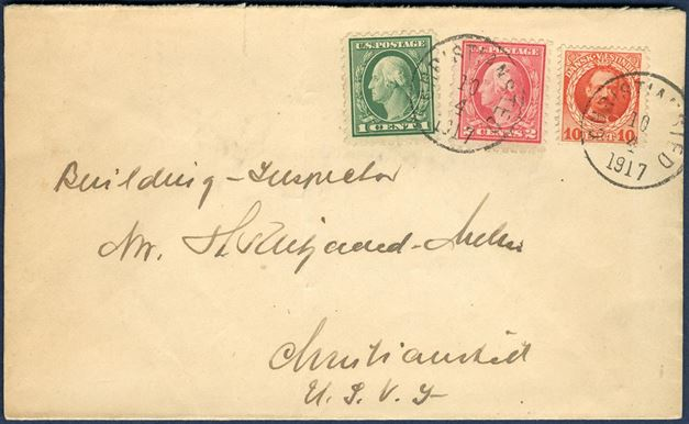 Envelope sent within Christiansted 10 April 1917. Mixed franking transition letter 1.4.1917 – 30.9.1917 with 10 BIT King Frederik VIII and 1 & 2 CENTs US (3¢ = 15 BIT), overfranked and philatelic.